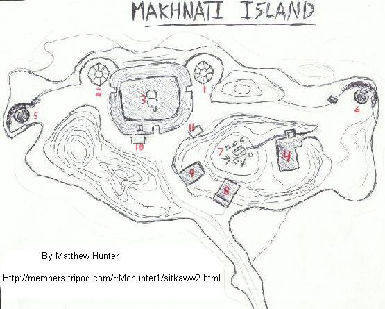 Hand Drawn map of Makhnati Island.  CLICK TO ENLARGE