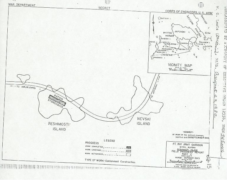 Army map of Nevski and Reshimosti Islands