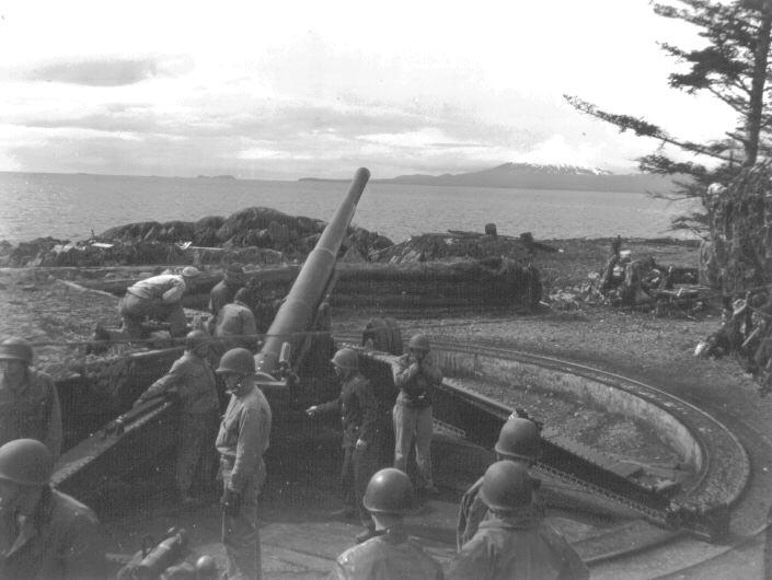 WWII Era Photo of a 155mm gun on Makhnati Island
