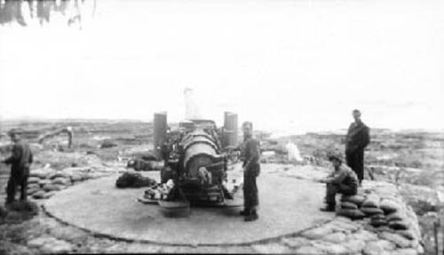 One of two Navy 6-inch guns at shoals point
